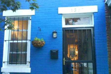 Cozy blue rowhouse on Capitol Hill