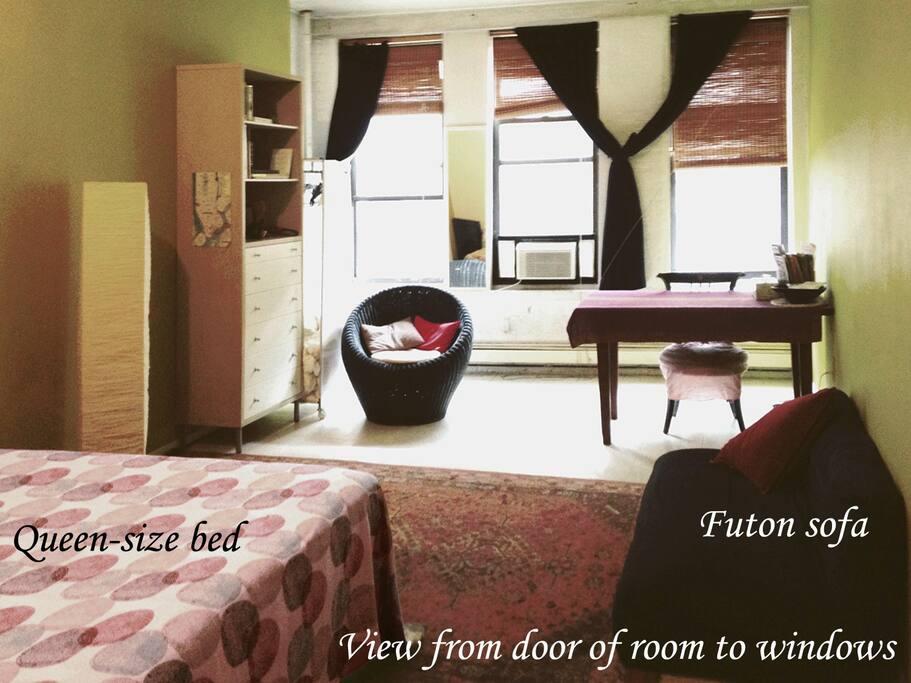 ROOM: View from windows.  towards door to corridor, kitchen, bathrooms