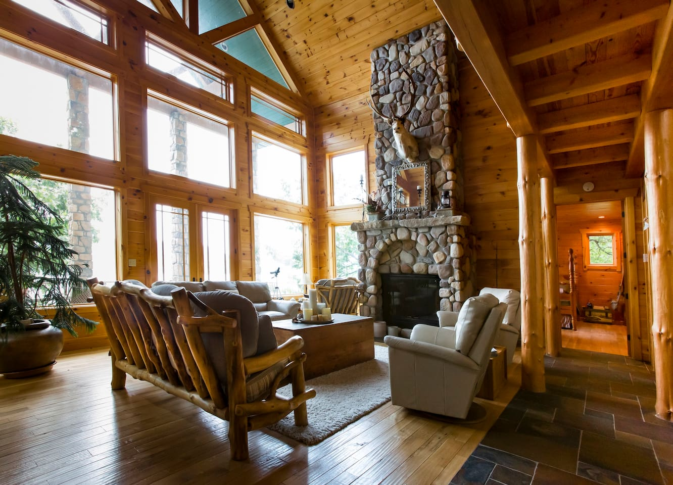 Great room with massive wood burning fireplace.