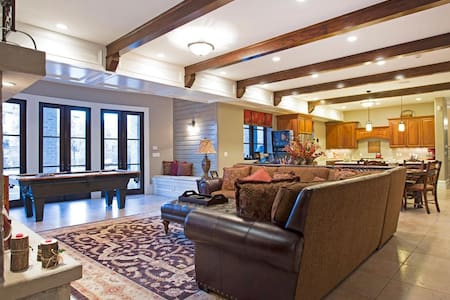 This property is so upscale AirBnB doesn't even have a category for some of the features such as a 1,500 sq ft sport/basketball court, a theater room that seats 10, outdoor gas fire-pit and top of the line BullFrog Spa.