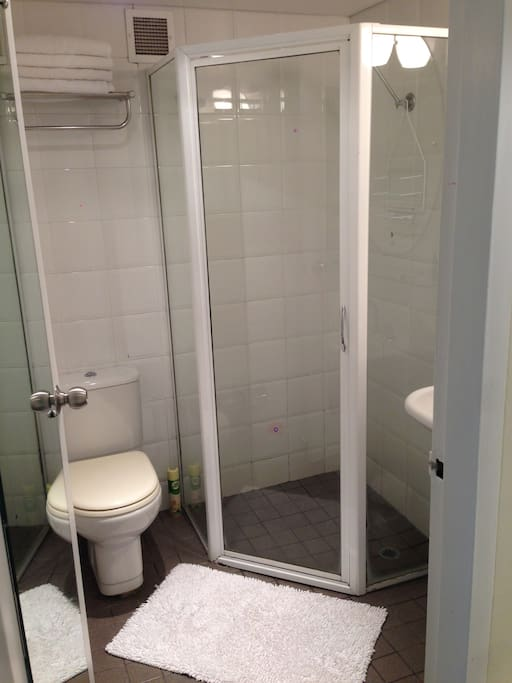 Clean shower and toilet