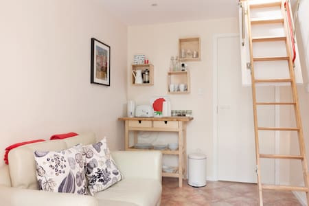 Situated off a small patio garden, this small city centre studio with mezzanine loft bed is a perfect space for a short stay in Dublin. Located in the cathedral quarter of Dublin 8 with it's own entrance, you can walk home and relax in the sauna.