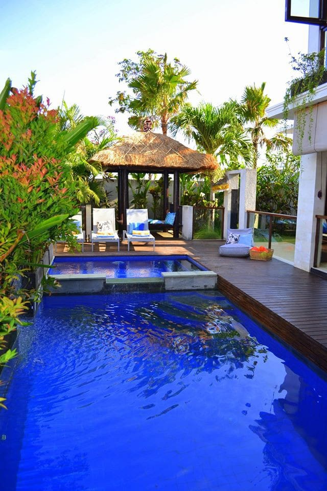 Beautifully blue … our pool area