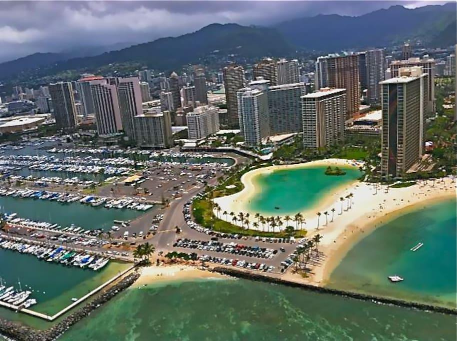 Ariel view of Ilikai Hotel and Hilton Hawaiian Lagoon and Village