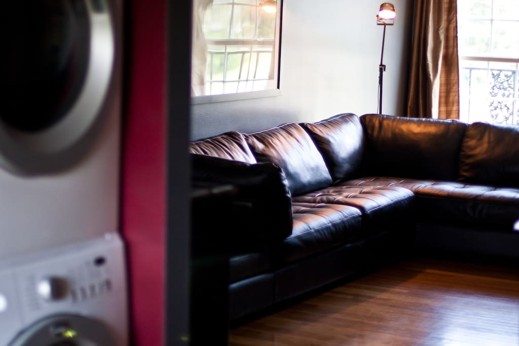 Living room with Italian leather sectional.