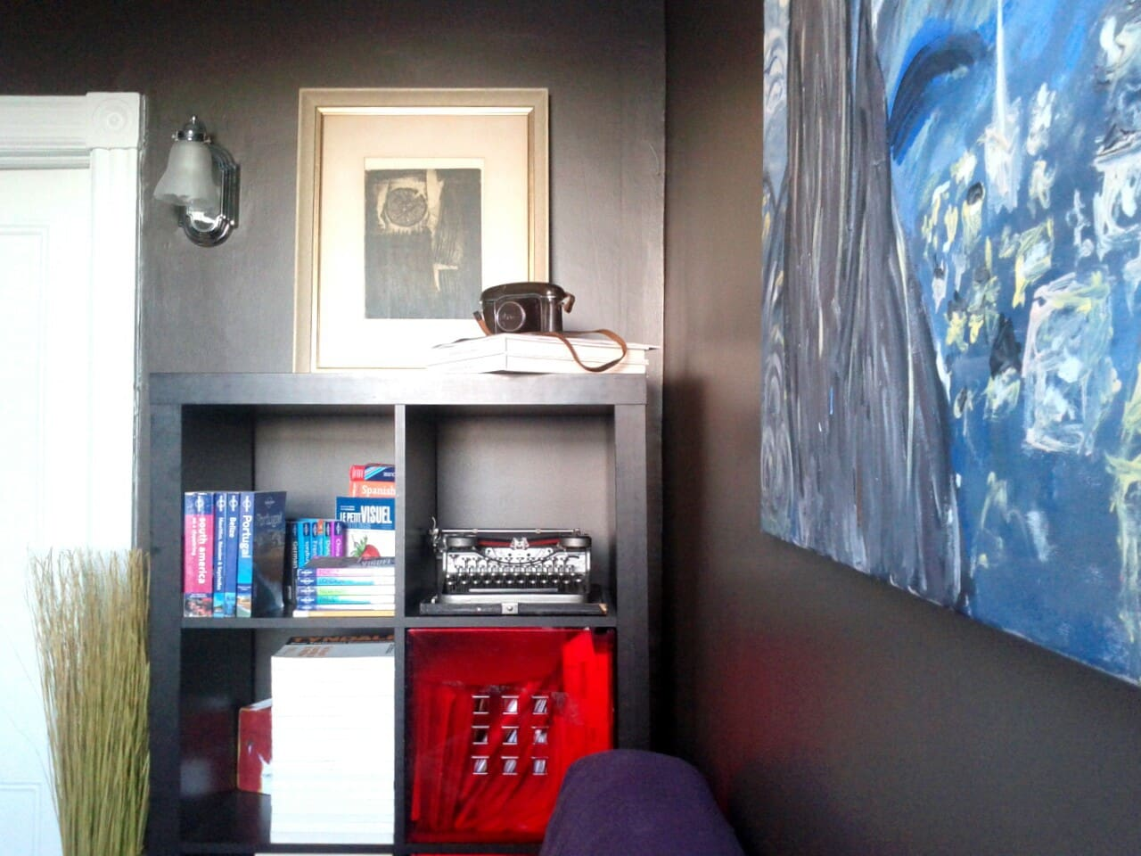 the guest room: travel and language books, typewriter, and lots of books