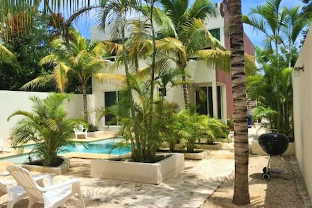 We are located in the new area on the south end of Tulum, The area is very secure, quiet, and laden with exotic birds,You wake up to the many birds singing in the morning. We are a 5 minute walk from El Camello Restaurant, the most famous here.