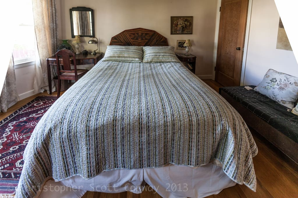 Your very comfortable and plush pillowtop bed with lots of space and serenity and privacy.