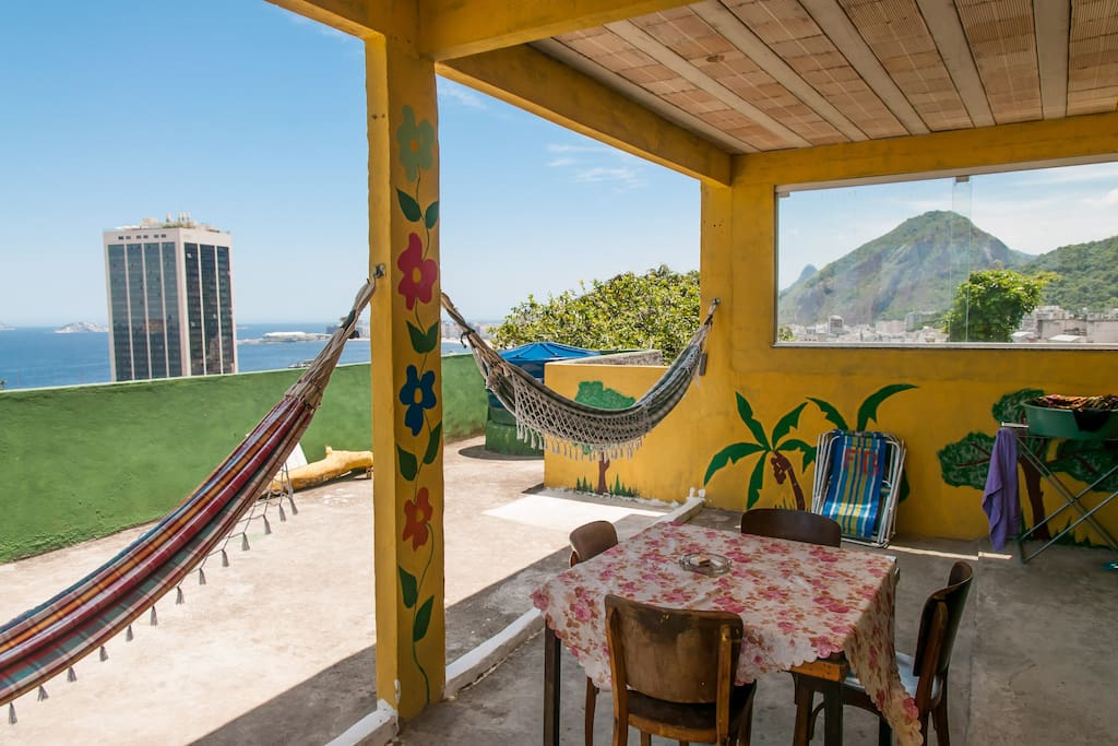 This bed and breakfast is situated overlooking Copacabana in the safe and friendly community of Babilonia, on the fringes of Atlantic  rain forest at the Leme end of Copacabana. Sometimes we see small monkeys in the trees!