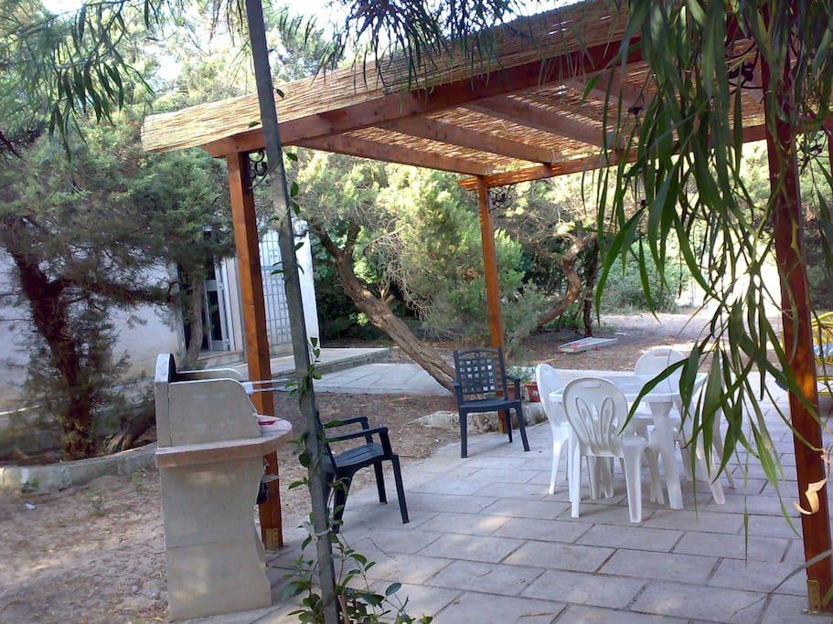 Il giardino con barbecue
