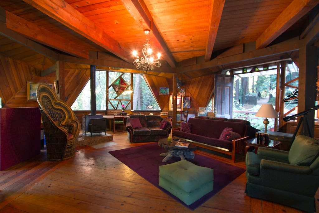 Living room and views all around the house into the Redwood forest
