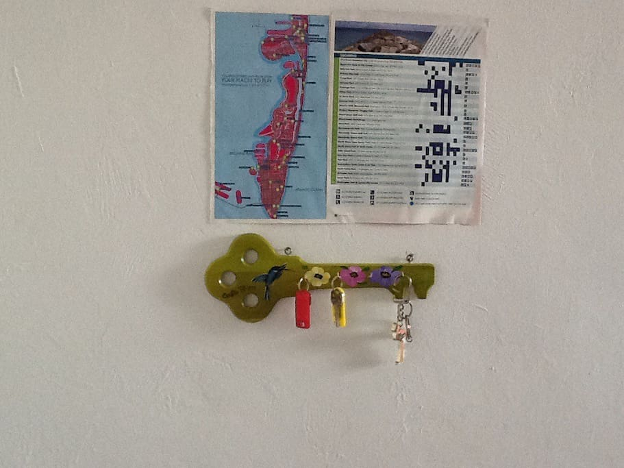 Keys and map of Miami Beach