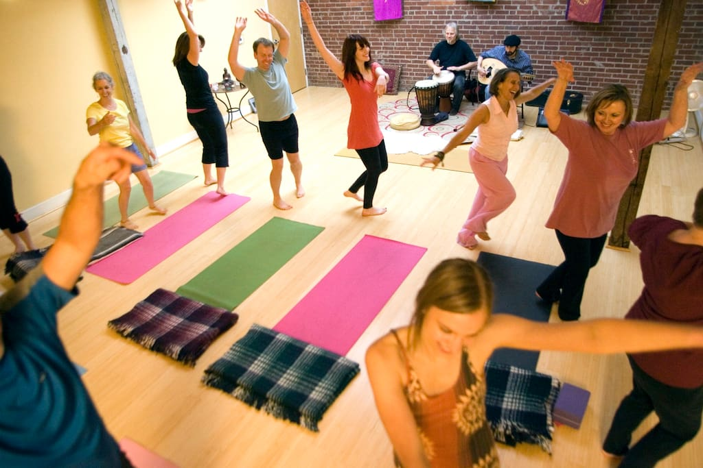 My celebration yoga classes at The Glowing Body--I'm in pink!