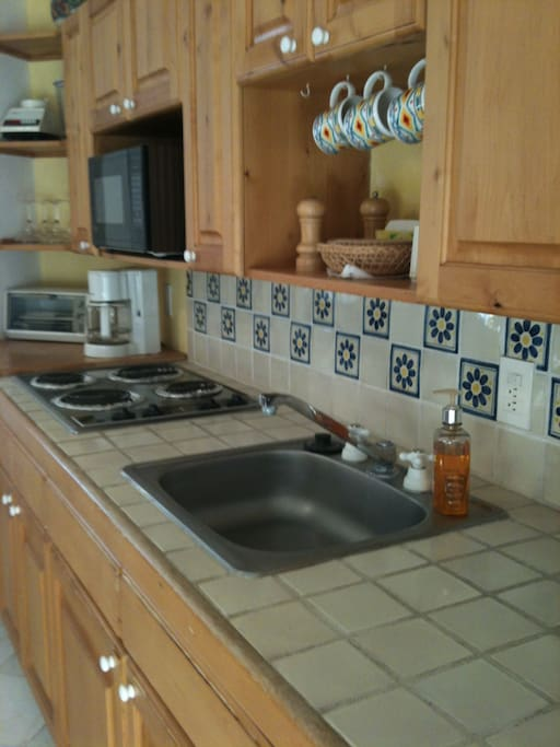 The well stocked kitchen includes dishes, coffeemaker, blender, microwave, pots and pans, small fridge.