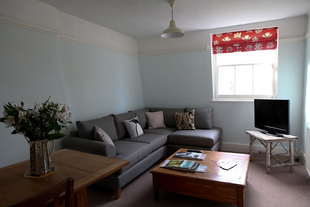 Relax on the super comfy sofa and watch TV after a hard day's sightseeing!