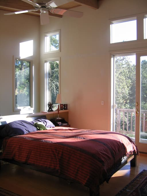 Master bedroom suite with vaulted ceiling, sunlight and views.