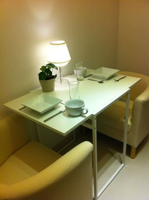 The table in the living area.