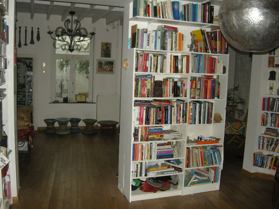 our ground floor - the library in the front, the tv part at the back