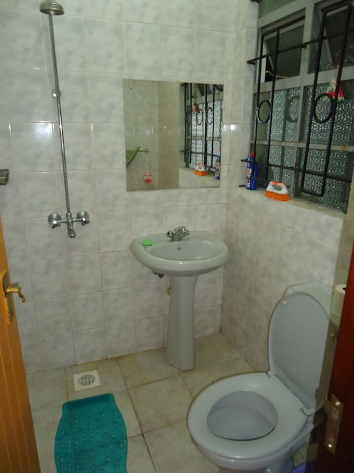 Clean and simple shower room and flush toilet