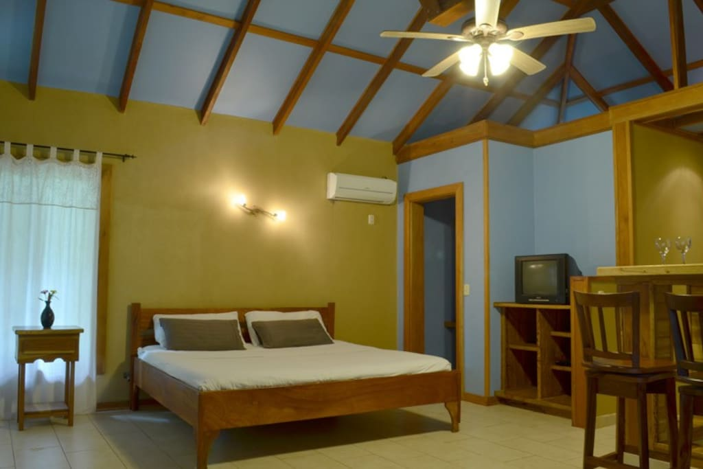 King Size bed offers Television, DVD and fan.