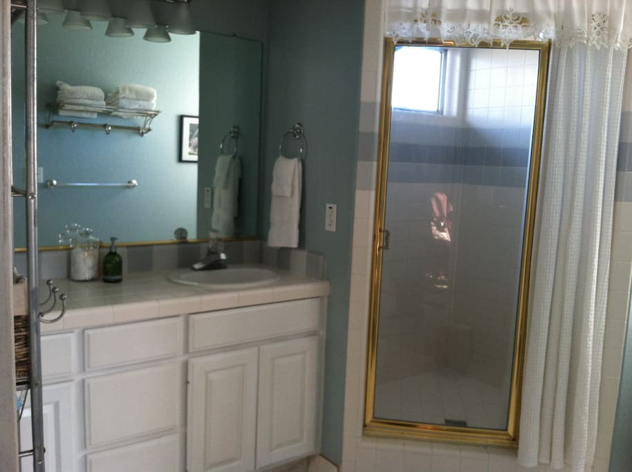 Master bath with two sinks and large walk-in shower