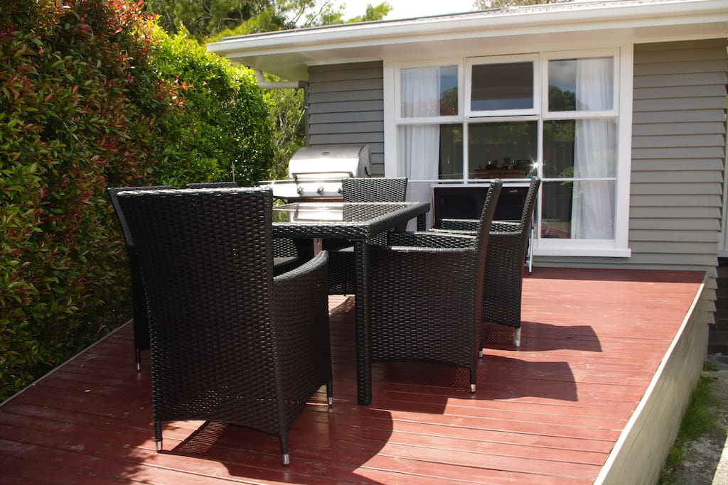 Private front garden with table, chairs and BBQ facilities