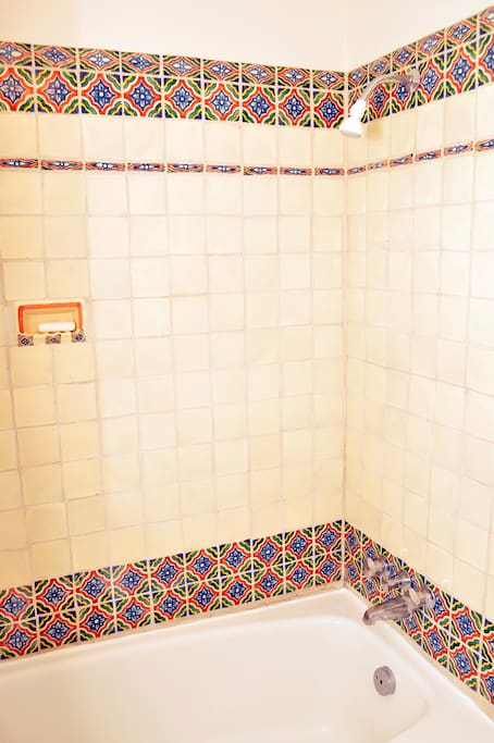 your private tub and shower continue in true Santa Fe Style!