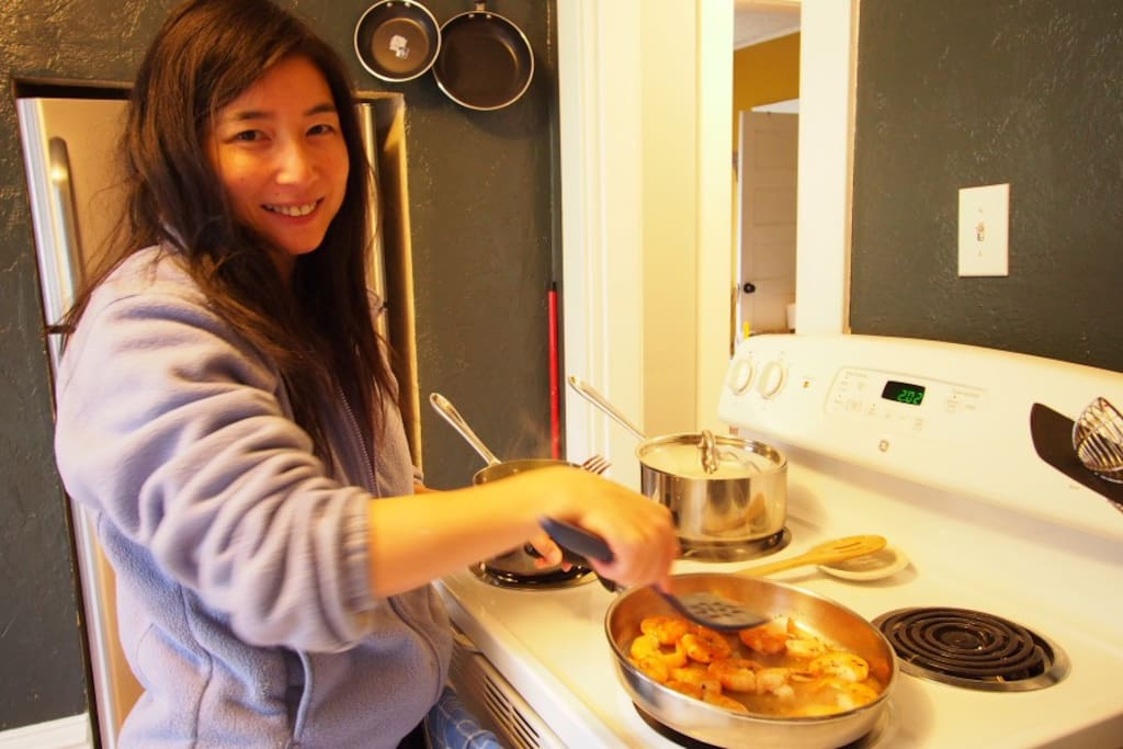 Me cooking in the kitchen.