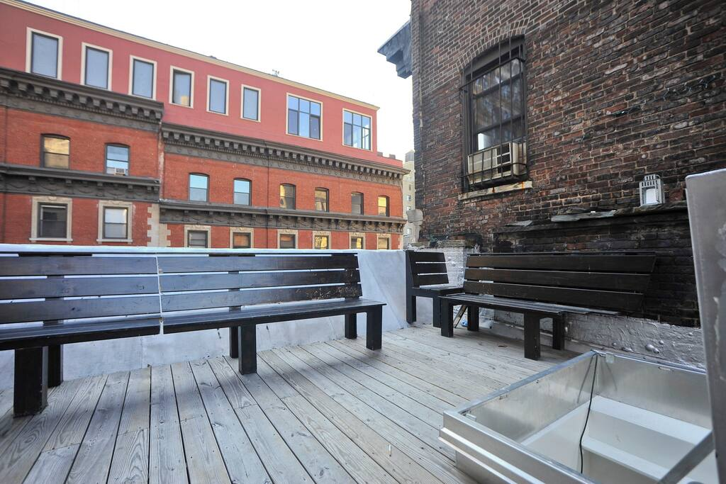 The roof deck.