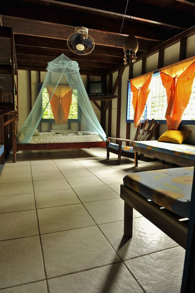 bedroom with double bed and mosquito netting