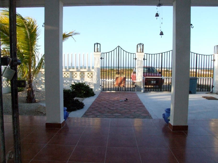 Front entrance to Villa from Beach.