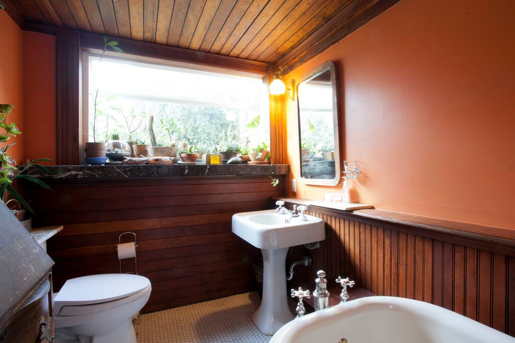 private bath with garden window