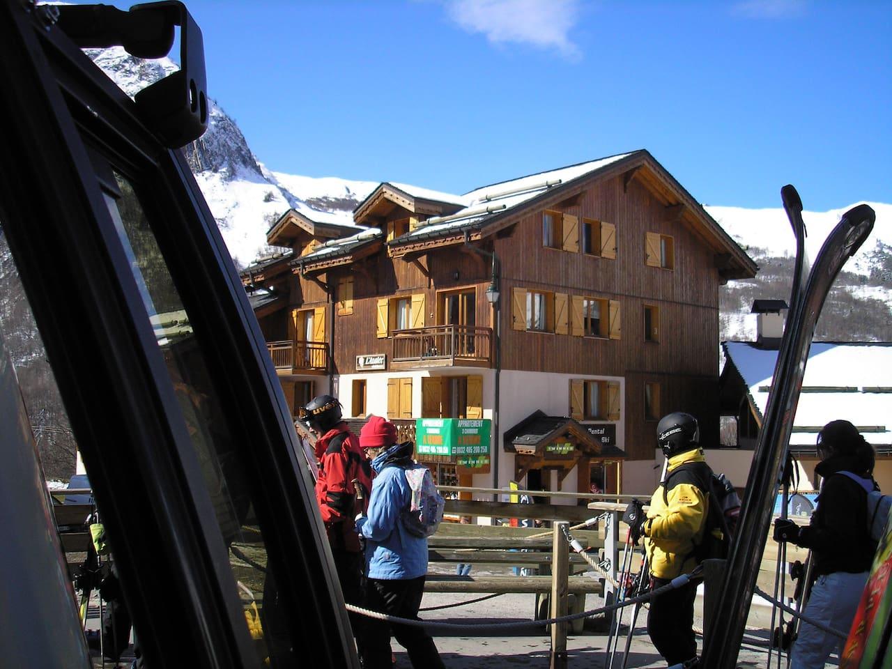 The Azalee building just next the skigondel.