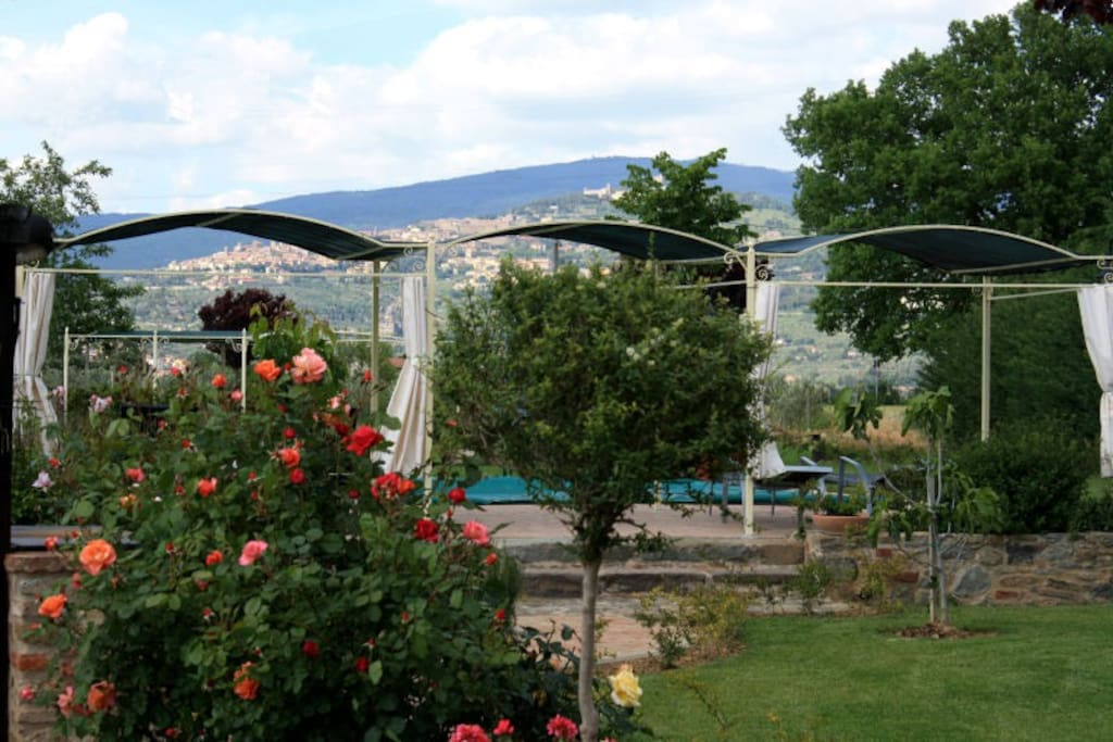 gardens and Cortona views