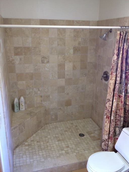 Huge walk in shower in private bath.