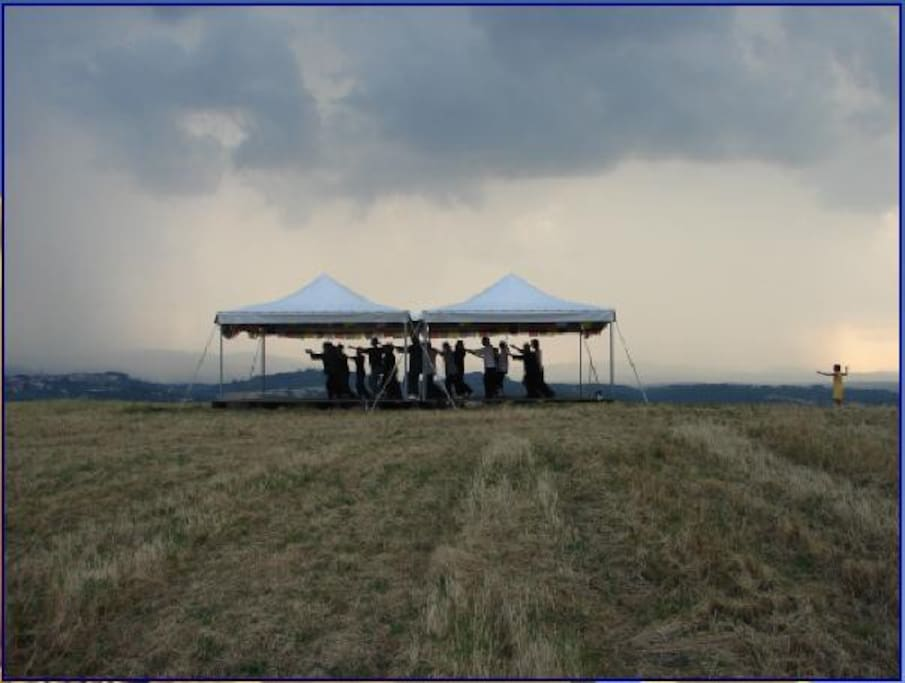 Casa Garuda hosts small retreat groups such as this Tai Chi program.