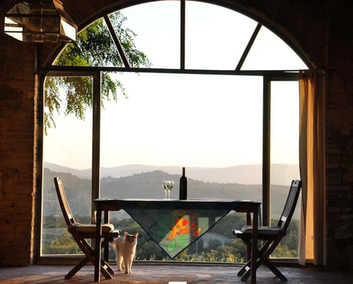 Enjoy dining in the annex with gorgeous view of Tuscany hills and the Val di Chiana.
