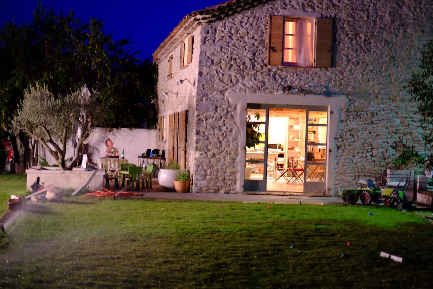 Stylish, spacious renovated barn with large gardens, terrace, pool and village views