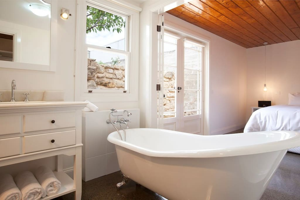 Privacy, Natural Light, Deep Soaker Tub - Ater a Day of Travelling!!  Bliss