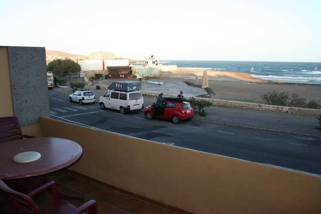 The view from the front terrace; that is the famous windsurfing Cabezo beach.