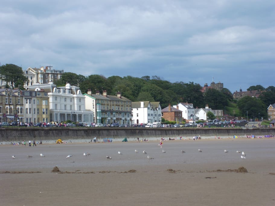 Looking up towards the sea front from Filey beach.Just gorgeous!