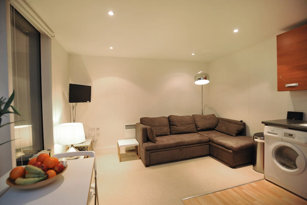 This is the sitting room/kitchen.  The sofa is the sofa bed