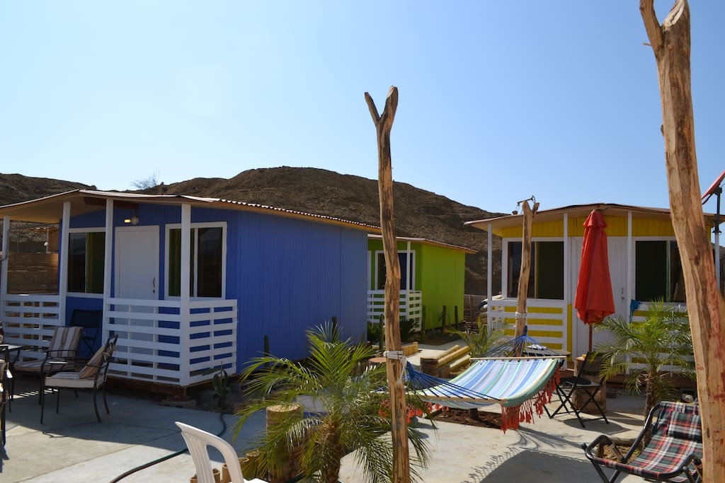 Here are the Cabanas before we got the shade roofs up.