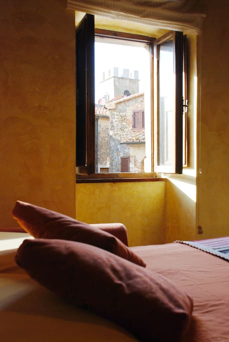 View of the bell tower from the bed