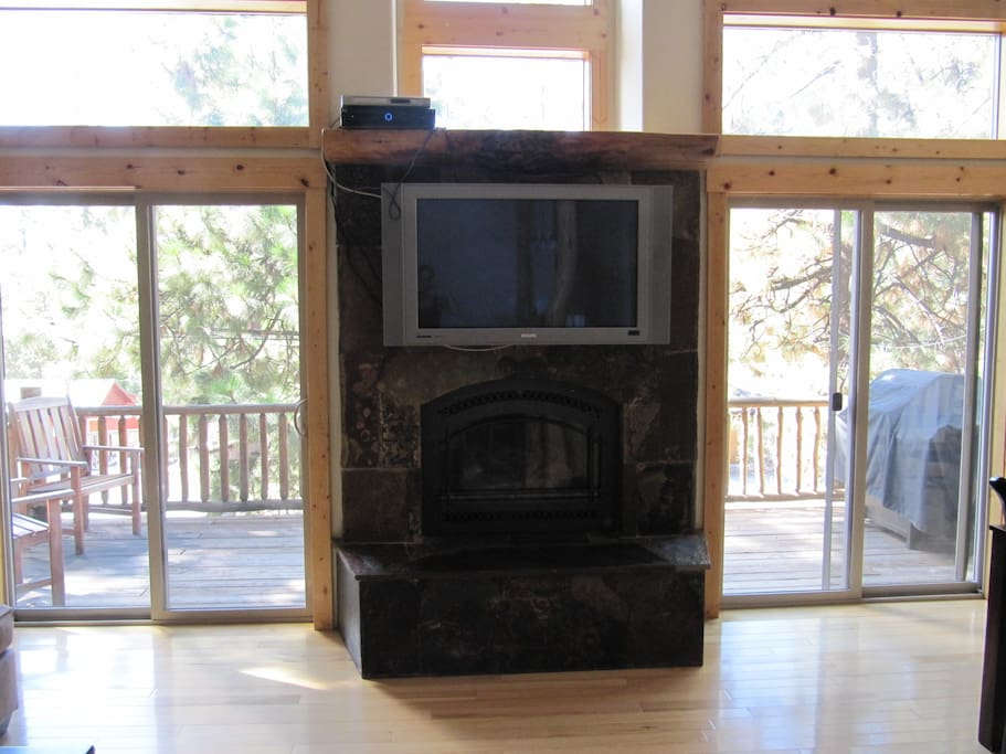 Gas fireplace for the cold Tahoe nights
