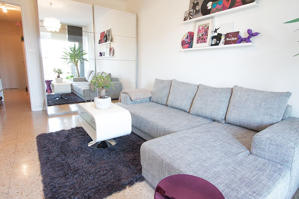 Séjour avec canapé convertible/Living room with convertable sofabed