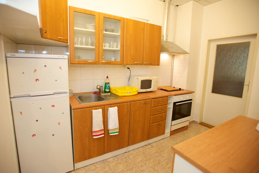 The kitchen should contain everything you would need to cook and prepare meals for a short stay in Prague.