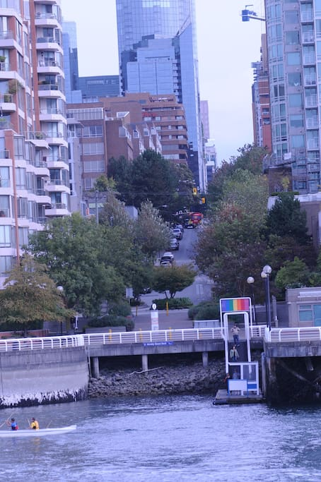 Looking from small passenger ferry to Hornby St dock and up to the apartment (brown & on the left)