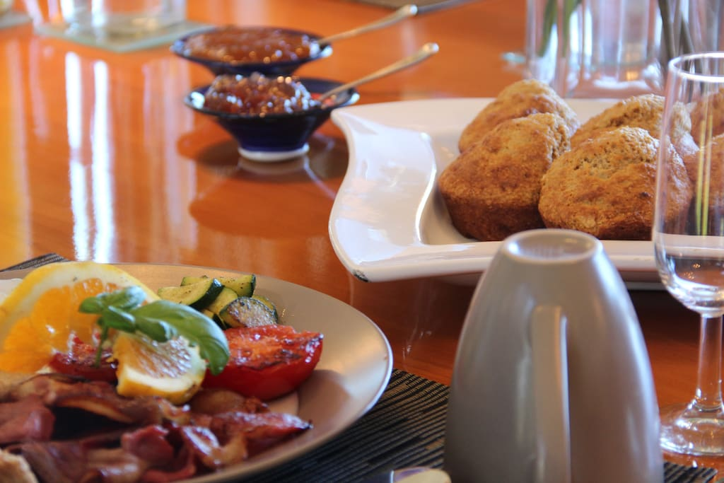 Breakfast with home-made muffins