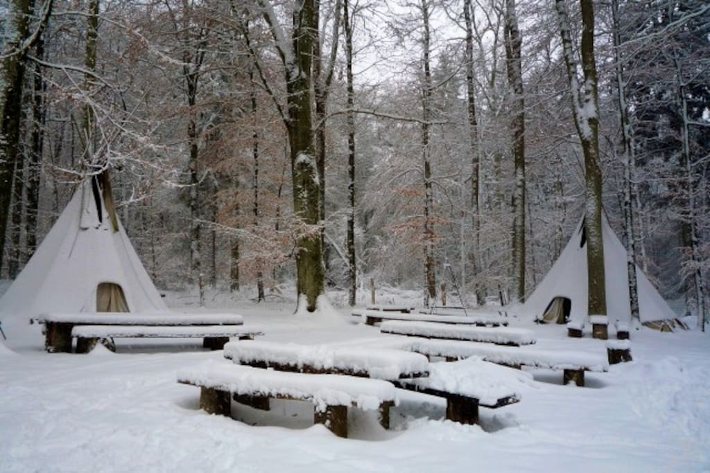 some guests also come in the winter- with a bondfire inside the tipi to stay warm!